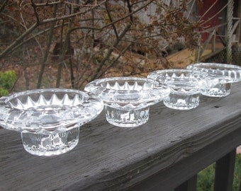 Four Vintage Glass Candle Holders - Clear Glass Taper/Candlestick Holders