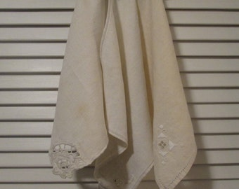 Three Vintage Natural Linen Napkins -  Each Different/ All Lovely