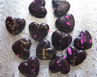 24 Acrylic Heart Pink Black Gold Splatter Painted Hearts 15mm