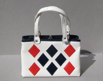 Mod Red White & Blue Vinyl Handbag Diamonds 1960s Vintage Purse USA Patriotic 4th of July Go-Go Girl Bag