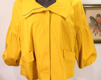 Vintage ELLE Mustard Puff Sleeve Bolero Crop Jacket Cotton Blend Lined Swing XL