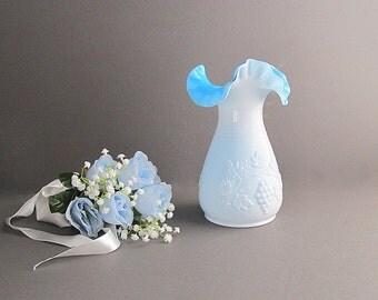 Vintage Milk Glass Blue Vase, Large Vase, Kanawha Vase,  Wedding Vase, Blue Milk Glass Vase