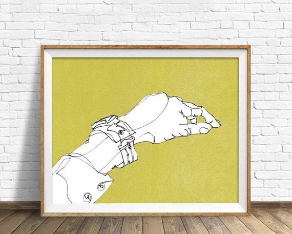 "drawing, anatomy, abstract, art prints, wall art, large wall art, large art, abstract art, modern, minimalist, art - ""Hand, Wrist, Watch"""