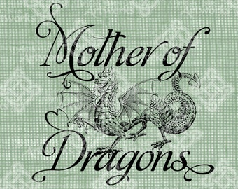 Digital Download, Mother of Dragons Sign, Fantasy Beast of Fire, Antique Illustration, Iron on Transfer, DigiStamp, Transparent png