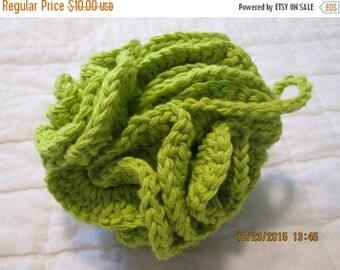 30% OFF STORE SALE Crocheted Cotton Shower/Bath Pouf/Scrubbie  Hot Green