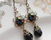 75% Off Clearance Sale, Dancing Flowers,Earrings with Vintage Glass Cameo made in Japan, Blue, Red, Green, Black and Yellow