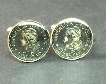 Argentina coin cufflinks 10 centavos Liberty Head 17mm.