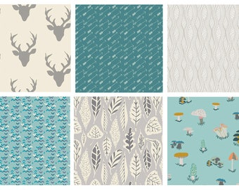 BUNDLE - Hello Bear - Indian Summer - Bonnie Christine - Woodland Quilting Fabric Bundle - Deer Antlers Arrows Mushrooms Blue