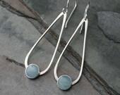 Aquamarine Gemstone Sterling Silver Earrings, Dangle Drop Minimalist Teardrop 8mm Round Aqua Aquamarine Modern Modernist March Birthstone