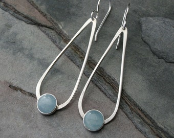 Aquamarine Gemstone Sterling Silver Earrings, Dangle Drop Minimalist Teardrop 8mm Round Aqua Aquamarine Modern Modernist March Birthstone