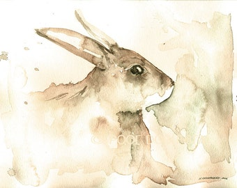 White Hare.. Study n0. 1 - Watercolor print