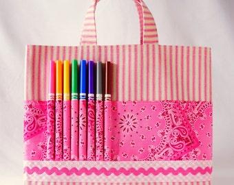 Crayon Tote • Crayon Bag • Coloring Bag • Art Tote • Crayon Holder • Crayon Roll • Flower Girl • Busy Bag • ARTOTE • My Pretty Pony