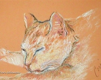White and Orange Cat Art Original Pastel Drawing  By Cori Solomon