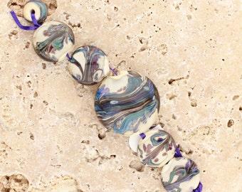 peacock wave pool, lampwork handmade glass beads