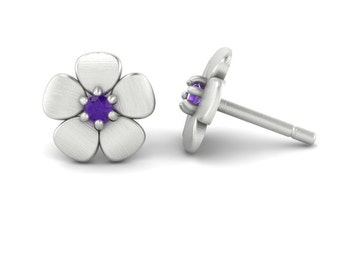 February Birthstone Earrings with Amethyst Flowers in 14k White, Yellow, or Rose Gold - Baby Gift -Laurie Sarah Flower Collection - LS4607