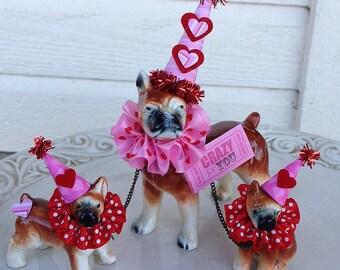Valentine's Day Decoration Vintage Boxer And Pups Figurine  Valentine Ornament  Valentine gift TVAT