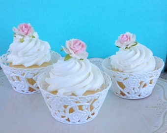 Birthday Decoration Tea Party Six Vintage Cupcake Wrappers Bridal Wedding Shower for Birthday Party
