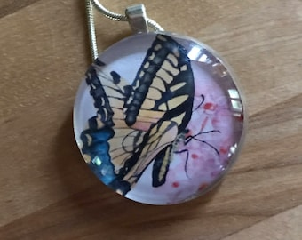 Glass Tile Pendant with Print of Original Watercolor-Butterfly on Pink Phlox Flower