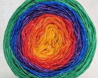 Over the Rainbow Panoramic Gradient, dyed to order - pick your yarn and yardage!