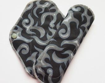 Set of 2 Cloth Mama Pad Pantyliner 8 inch - Blank & Charcoal Gray Swirl FREE Shipping