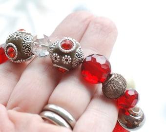 Ornate Red Beaded Bracelet, Spicy Cinnamon Bracelet, Holiday Jewelry, Stretch Bracelet, Stacking Bracelet, Ornate Bracelet, Sparkly Jewelry