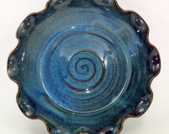 Fluted Blue Pie Pan - Pie Plate - Medium Size  - Pie Pan - Wheel Thrown and Altered Pottery