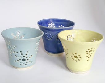 Little Votive Candle Holders or Luminaries with Decorative Holes - Wheel Thrown Pottery