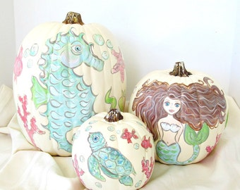 Set of 3 Coastal Handpainted Faux Pumpkins, Mermaid Handpainted Pumpkin, Coastal Fall Decor, Beach Cottage Decor, Seahorse Turtle Pumpkin