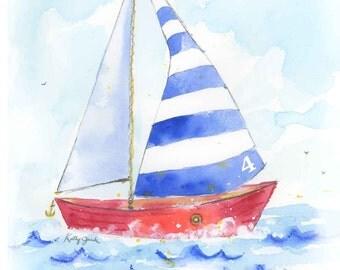 Sailboat Art - Nursery Decor - Painting - Baby Boy Wall Art Print