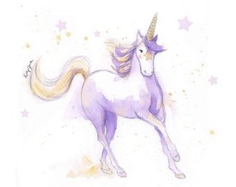 Unicorn Art Print  - Unicorn Nursery Art - Unicorn Watercolor - Fantasy Lover Gift