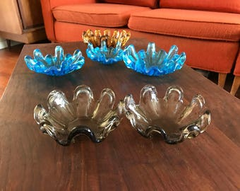 Set of two smoky grey nesting free for art glass dishes from the 1960s