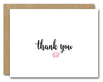 Baby Girl Thank You Card, Printable Baby Card, INSTANT DOWNLOAD, Baby Feet Card, New Baby Card, New Mom Card, Baby Shower Thank You Card