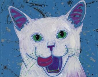 White Cat Art - Cat Pop Art MATTED Print by Angela Bond
