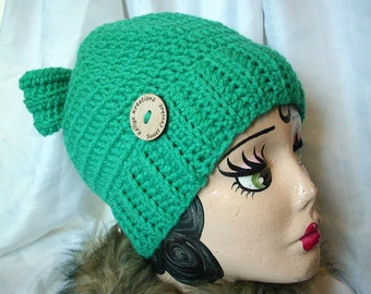 Bun Beanie - Pony Tail Hat - Messy Bun Bow Hat - Wood Button - Womens Beanie - Messy Hair Hat - Greenery  Green - FREE bag - Ready To Ship