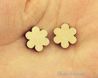 6pcs Wooden Flower Charm, Wood Plum blossom Pendant, DIY Laser Cut Mini Blank Wood Charm, Perfect for Earring  - HWD510P