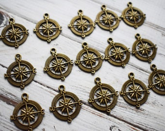 Antique Compass Charm - Metal Charm Pendant Compass - Adventure Travel Pendant Jewelry Supply - pack of 15