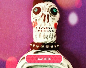 Ceramic Skeleton Sculpture Valentine Love OOAK by Sharon Bloom Designs
