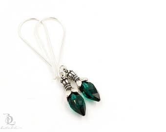 Emerald // Sterling Silver Swarovski Dangle Boho Luxe Bohemian Earrings earrings by BellaLili