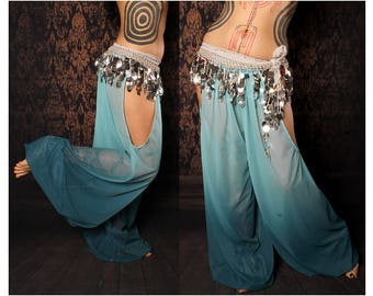 Mermaid Harem Pants, blue ombre, cut out leg, tribal fusion belly dance, Gypsy costume, Art Nouveau Costume, summer festival baggy pants