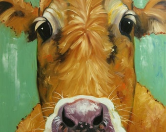 Cow painting animals 1176  36x36 inch original portrait oil painting by Roz