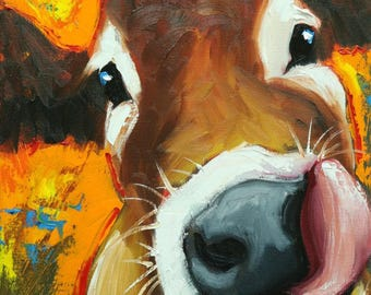 Cow painting 1211 12x16 inch original animal portrait oil painting by Roz