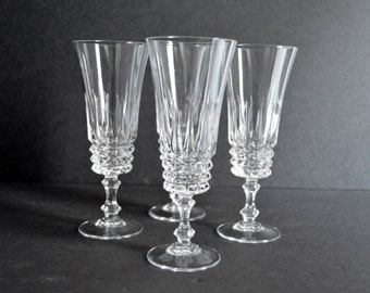 WM Dalton Liqueur Glasses Set of 4 -MADE in FRANCE- Lead Crystal Cut Parfait Sour Long Stem Cordial Glasses Vintage Set Drinkware Barware