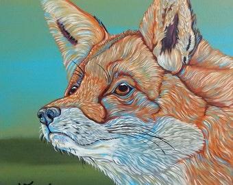 Rainbow Red Fox Original Wildlife Art Canvas Painting 10 x 10 -Carla Smale