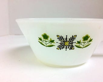 Vintage Fire King  Meadow  Pattern  Soup Bowls Green Butterflies and Flowers on White Set of Two