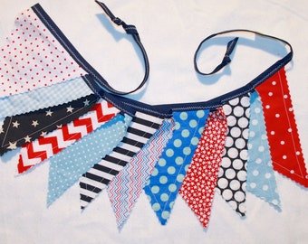 4th of July pennant bunting fabric banner in red white navy blue - 12 double sided flags total