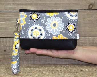 Wristlet or Crossbody Wallet For iPhone 7 Plus In Otterbox, Samsung Galaxy Note, S6 S7 Edge, Cell Phone Purse or Clutch / Yellow Gray Black