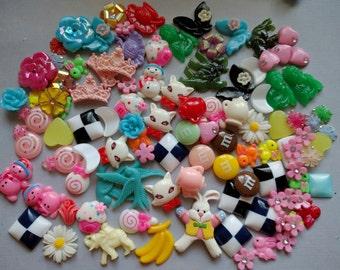 Destash Mix of Plastic Novelty Cabochons