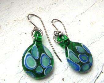 Green and Blue Round Minimalist Boho Glass Earrings