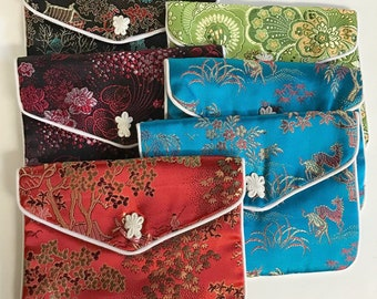 "SILK PURSES Chinese Vintage Elegant Brocade Assortment Jewelry Pouches 4"" x 5""  pkg6"