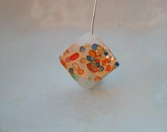 White Venetian Murano Jewelled Diamond Bead - 15mm